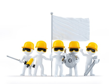 yellow hard hat: Group of construction workersbuilders with tools and blank flag. Isolated on white background Stock Photo