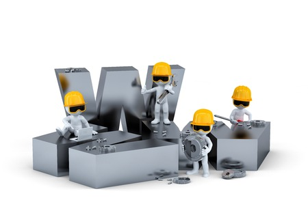 alba�il: Grupo de trabajadores de la construcci�n  constructores con signo WWW. Construcci�n de sitios web o concepto de reparaci�n Foto de archivo