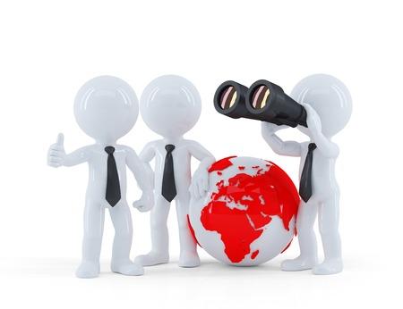 Gruppe von Geschäftsleuten mit Globus und Ferngläser. Isoliert auf weißem Lizenzfreie Bilder