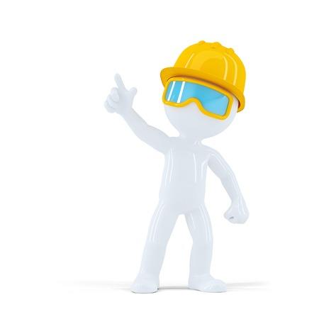 Bauarbeiter mit Helm zeigt auf Objekt. Isoliert auf weißem Hintergrund Lizenzfreie Bilder