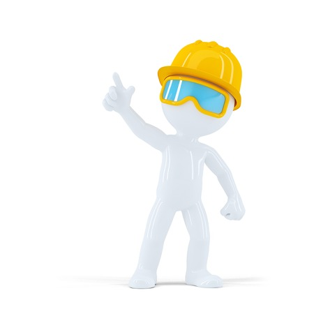 Construction worker with helmet pointing at object. Isolated on white background