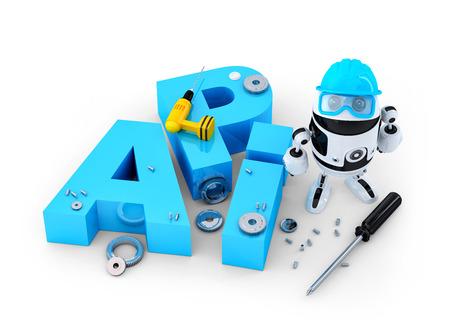 Robot con el signo de la interfaz de programaci�n de aplicaciones. Concepto de la tecnolog�a. Aislado en el fondo blanco