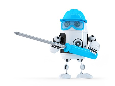robot cartoon: Robot with screwdriver. Technology concept