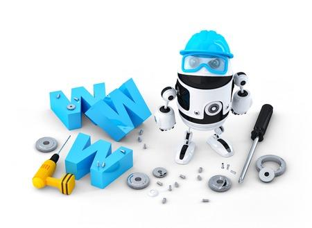 Robot con il segno WWW. Costruzione sito web o concetto di riparazione. Isolato su sfondo bianco Archivio Fotografico