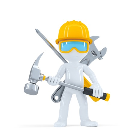 adjustable wrench: Construction workerbuilder with hammer. Isolated on white background Stock Photo