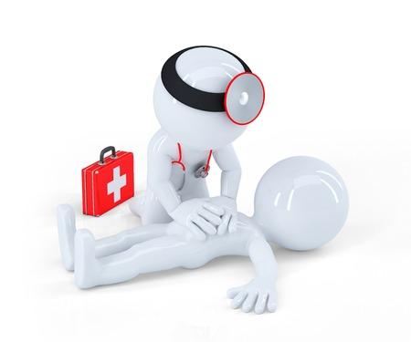primeramente: M�dico proveer primeros auxilios. Aislado en el fondo blanco Foto de archivo