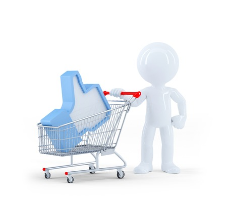 internet safety: 3D Man with shopping cart. Isolated on white background
