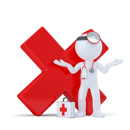 Doctor with red glossy check mark. Isolared on white background