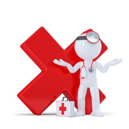Doktor mit rot glänzend Häkchen. Isolared auf weißem Hintergrund