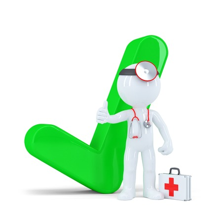 3d doctor with green checkmark. Isolated on white background Standard-Bild