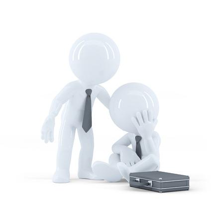 reassurance: Hombre de negocios que ofrece apoyo a un colega. Problemas en el concepto de trabajo. Aislado Foto de archivo