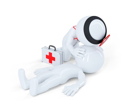 Artificial respiration. First aid help concept. Isolated on white Stock Photo