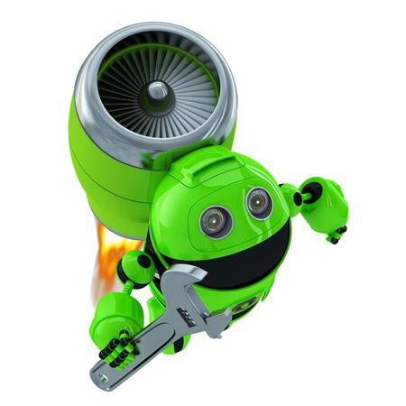 Robot-Mechaniker mit einem Schraubenschlüssel. Technologie-Konzept. Isoliert