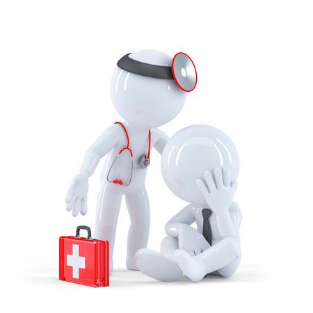 Doktor mit Patienten. Isoliert auf weißem Lizenzfreie Bilder