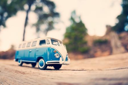 Miniature travelling vintage van. Macro photo photo