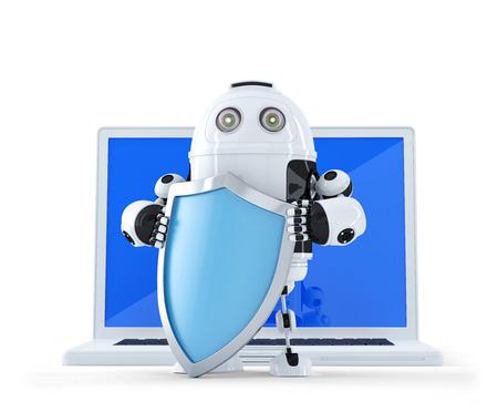 marioneta: Robot con shielad y un ordenador portátil. Internet  concepto de seguridad de la tecnología. Aislado