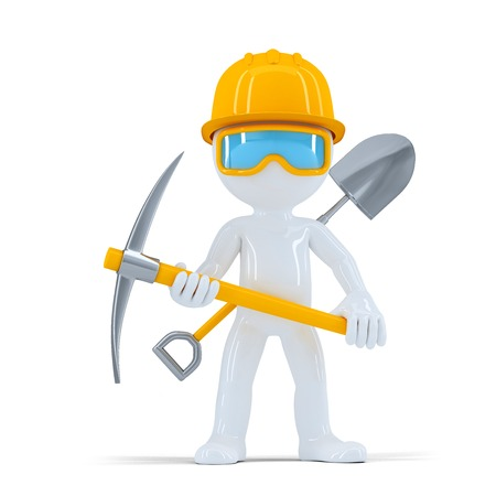 Cheerful construction workerbuilder posing with tools. Isolated on white  photo