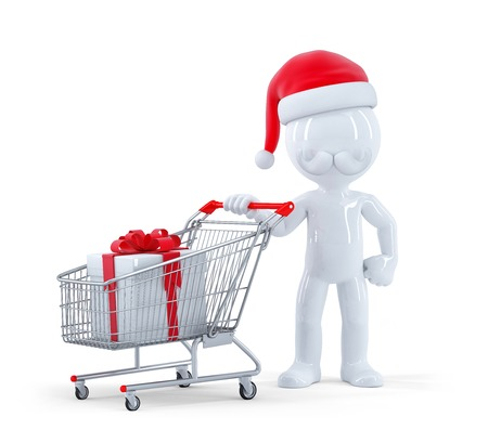 Cute 3d santa with shopping cart and christmas gift. Isolated on white  photo