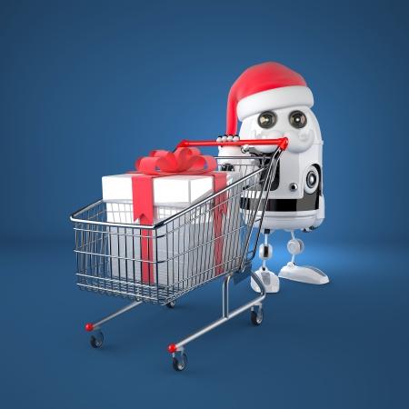 Robot Santa with shopping cart. Technology concept photo