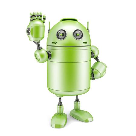 funny robot: Robot signer bonjour. Concept technologique. Isol� sur fond blanc