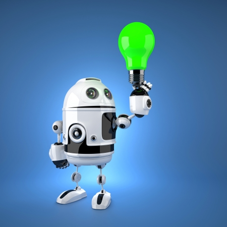 robot with green light bulb. Technology concept photo