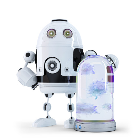 concep: Robot and viruses caught in the container. Technology concep