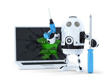 disassembly: Robot with tools and broken laptop. Isolated