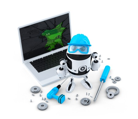 disassembly: Technician fixing laptop.  Technology concept. Isolated on white  Stock Photo