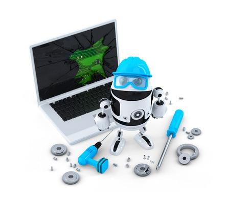 Technicus vaststelling laptop. Technologie concept. Geïsoleerd op wit Stockfoto