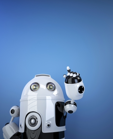 invisible object: Robot pointing at invisible object.