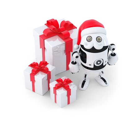 Robot with gift boxes. Christmas concept. Isolated photo