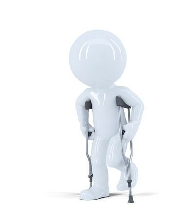3d man walking on crutches. Isolated on white