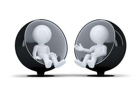 Die Menschen sitzen in einem modernen runden Stuhl einander und reden. Isoliert