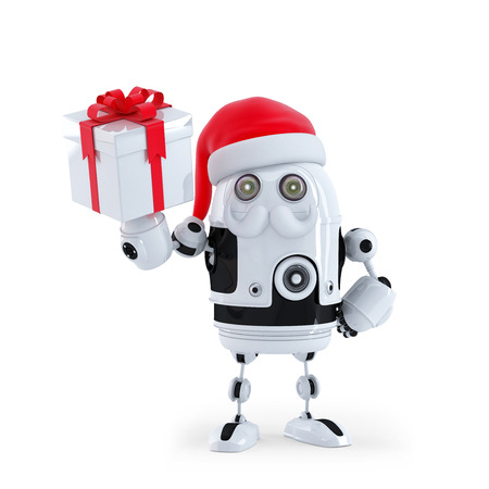 Robot Santa holding a present box. Isolated on white photo