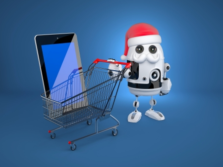 Robot Santa with shopping cart and blank screen tablet computer. Christmas concept photo