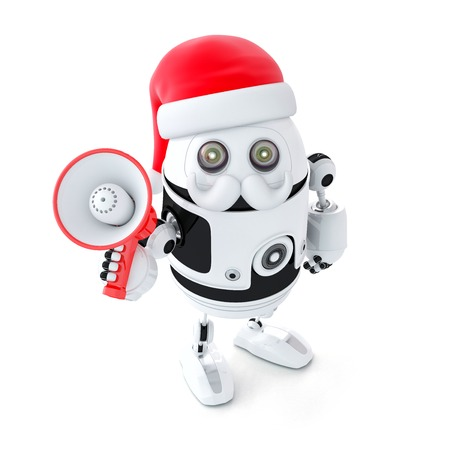Robot Santa with megaphone. Christmas concept. Isolated photo