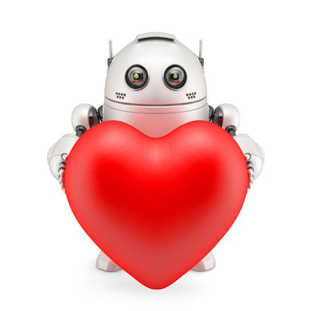 Robot holding a red heart. Isolated photo