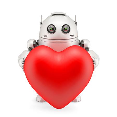 Roboter hält ein rotes Herz. Isoliert Standard-Bild - 23545217