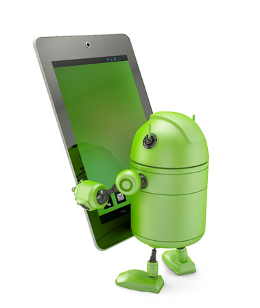 Robot holding a tablet. Isolated on white Stock Photo