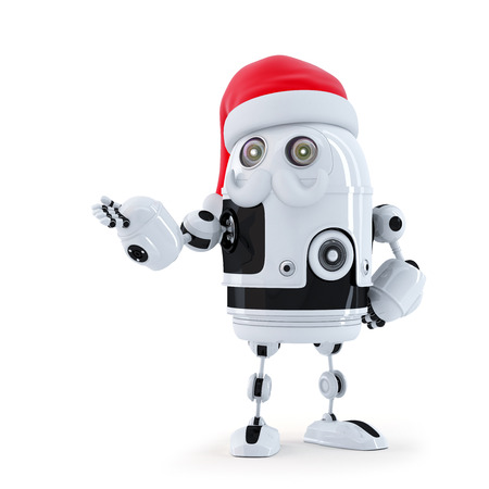 Robot Santa showing invisible object. Isolated on white photo