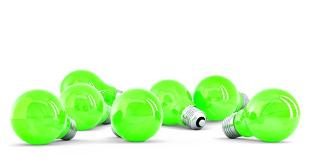 Group of green light bulbs isolated on white  photo