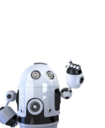 Robot pointing at something. Isolated on white  photo
