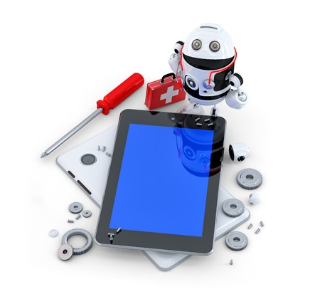 Robot repairing tablet computer. Technology concept photo