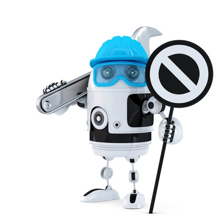 Robot construction worker with wrench and stop sign. Technology concept. Isolated over white  photo