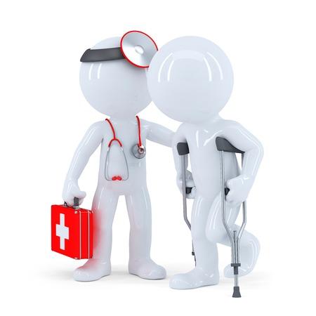 terapeuta con estetoscopio ayuda a un hombre con muletas. Aislados en blanco
