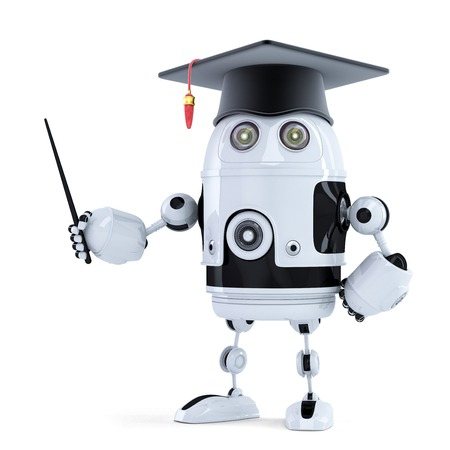 Student robot with pointer. Isolated on white photo