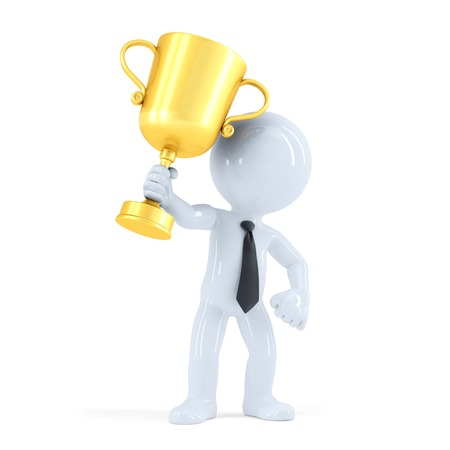 Business man raising his trophy. Business concept. Isolated. Contains clipping path Standard-Bild