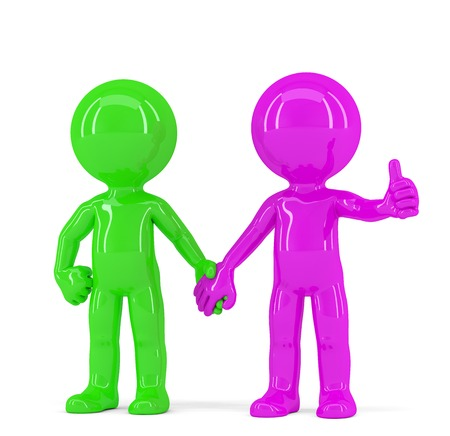 A pair of holding hands colorful people. Isolated. Contains clipping path photo