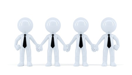 Group of heerful businesspeople. Isolated. Contains clipping path Stock Photo