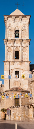 Bell tower of Ayious Lazarus Church, Larnaca, Cyprus. Vertical panorama photo